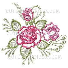 "This free embroidery design is called ""Roses""."