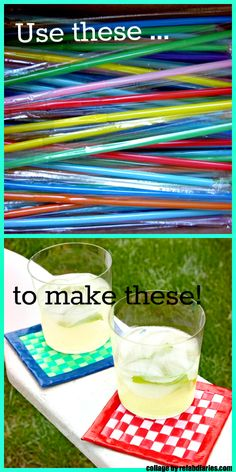 Diy drink coasters tutorial : flattened plastic straws + duct tape how c Diy Craft Projects, Duct Tape Projects, Duck Tape Crafts, Straw Projects, Craft Ideas, Straw Art, Diy Straw, Summer Crafts, Fun Crafts
