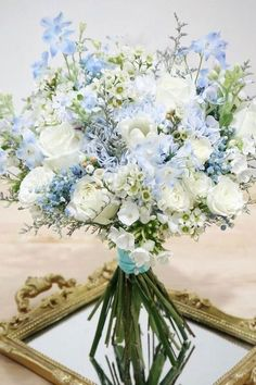 Hottest 7 Spring Wedding Flowers---white roses and dusty blue hydrangea wedding . Hottest 7 Spring Wedding Flowers---white roses and dusty blue hydrangea wedding . Blue Flowers Bouquet, Light Blue Flowers, Spring Wedding Flowers, Blue Flower Arrangements, Wedding Blue, Purple Flowers, Diy Flowers, Wedding Shoes, Wedding Boquette
