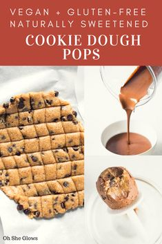 These cookie dough dark chocolate fudge pops are deeply chocolaty, luxuriously creamy, and completely addictive!you MUST make these this summer! Healthy Dessert Recipes, Healthy Treats, Vegan Desserts, Appetizer Recipes, Yummy Treats, Whole Food Recipes, Delicious Desserts, Vegan Recipes, Snack Recipes