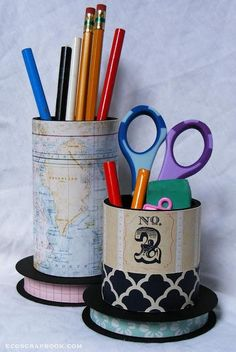 Back-to-school project tutorial: DIY Upcycled pencil holders