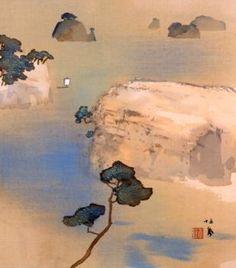 竹内栖鳳「艸影帖 色紙十二ヶ月の内 松島(七月)」