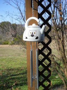 Cat teapot wind chimes