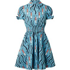 Valentino Smocked printed cotton-poplin mini dress (€2.025) ❤ liked on Polyvore featuring dresses, light blue, blue dress, blue collared dress, sleeved dresses, collared dresses and valentino dress