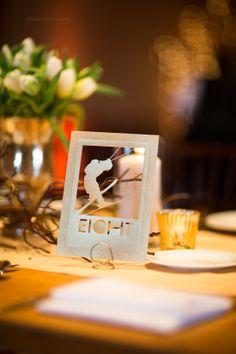 Table number. Winter wedding Tahoe