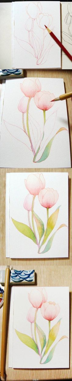 20 Delicate Colorful Watercolor Flowers Painting Tutorials In Images 20 zarte bunte Aquarell Blumen malen Tutorials in Bildern Watercolour Tutorials, Watercolor Techniques, Drawing Tutorials, Art Techniques, Watercolour Painting, Art Tutorials, Painting & Drawing, Painting Tutorials, Painting Flowers