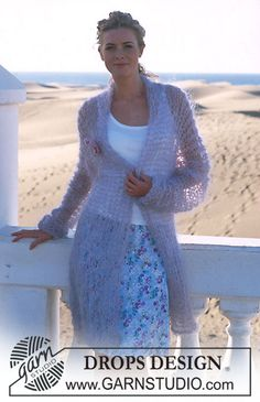 DROPS 89-12 - DROPS Cardigan in Vienna with Brooch in Eskimo - Free pattern by DROPS Design