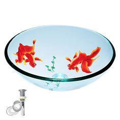 herdet runde glass fartøy gjennomsiktig vask med pop up og monteringsringen – NOK kr. 1.226