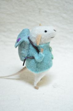 Little Traveler Mouse with recycled swaeter - unique - needle felted ornament animal, felting dreams made to order. $68,00, via Etsy.