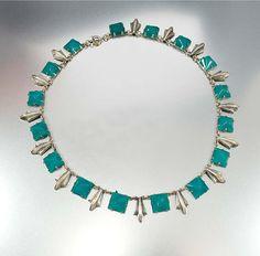 Czech Art Deco Necklace, Egyptian Chrysoprase Czech Glass, Silver Fringe, Cleopatra Vintage 1920s Art Deco Jewelry, Antique Jewelry