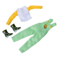 Save the bees! Super cute outfit set for Lottie Doll. Includes lemon t-shirt, green dungarees and green polka dot wellington boots. Green Wellies, Adventure Outfit, Wellington Boot, Boy Doll, Dungarees, Cute Dolls, Doll Accessories, Outfit Sets, Doll Clothes