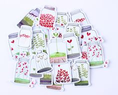 Brighten up your rainy days and save some smile in these adorable jars full of love. Material: paper Each set contains: 47 stickers Art Deco Decor, Love Stickers, Diy Stickers, Planner Bullet Journal, Scrapbooking Stickers, Love Jar, Creative Bookmarks, Doodles, Diy School Supplies