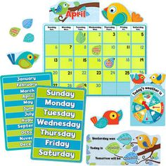 Boho Birds Calendar Bulletin Board Set