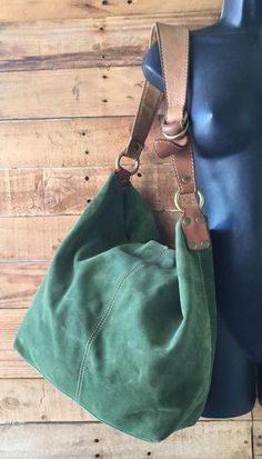 Lucky Brand Large Slouch Hobo Bag Purse Green Suede Tan Leather W/Pouch VGC in Clothing, Shoes & Accessories, Women's Handbags & Bags, Handbags & Purses | eBay