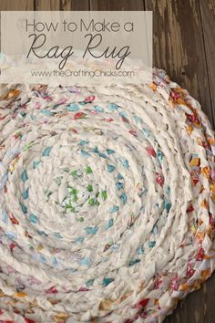 """How to Make a Rag Rug One crafter's brilliant tip: """"I have made tons of these rugs in my life. I don't buy fabric tho, I go to Goodwill and buy cotton clothing and sheets. Yard sells are a good place also. This is a bit more time consuming however way cheaper and reusing the old to make new!! I cut them in stripes and fasten them like you do to each other. However I don't sew mine together, as I braid, I coil them, then slip one of the 3 pieces into the braid next to it."""""""