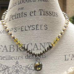 Boho Amber Crystal with Pyrite Baroque Pearls & Czech Glass Beads Necklace OOAK  | eBay