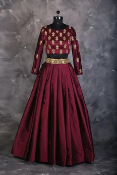 The Stylish And Elegant Lehenga Choli In Maroon Colour Looks Stunning And Gorgeous With Trendy And Fashionable Embroidery . The Silk Fabric Party Wear Lehenga Choli Looks Extremely Attractive And Can . Indian Gowns Dresses, Indian Fashion Dresses, Indian Designer Outfits, Designer Dresses, Pakistani Dresses, Designer Lehanga, Brocade Dresses, Party Wear Lehenga, Red Lehenga