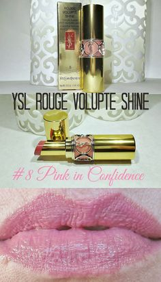 Icy Nails: Yves Saint Laurent Rouge Volupte Shine Lipstick #8 Pink in Confidence