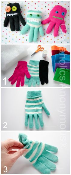 Glove Monsters Ever wondered what to do with all those single gloves? Turn them into Glove Monster Softies! These are one of my FAVORITE crafts E.V.E.R.! No joke. These little glove monsters are so fun to make and they were a HIT with my boys! {as