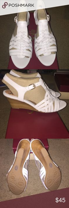 """Söfft Petula White Leather wedge New in box, never worn. White leather with cushioned leather footbed. 2-1/4"""" stacked heel. Smoke free home. Sofft Shoes Sandals"""