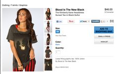 """headdress"" tee -- even the company name is offensive in this context -- ""blood is the new black"""