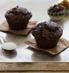 Ultimate Double Chocolate Muffins - The Chocolate Muffins to end all muffins - moist, tender, and full of deep chocolate flavor.  www.brighteyedbaker.com