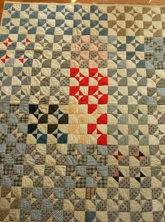 utility quilt, early 20th century, bow tie variation. Photo at Patalier: Not Forgotten