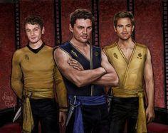 Mirror universe Chekov, McCoy and Kirk. Mirror Universe, Star Trek Reboot, Anton Yelchin, Marvel Characters, Fictional Characters, Zachary Quinto, Starship Enterprise, Star Trek Universe, Karl Urban