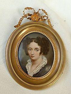 portrait miniature d'une jeune femme par Mathieu DEROCHE (1837-19..) ref 364P