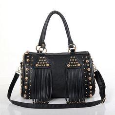 Rivet Tassels Women PU Handbags