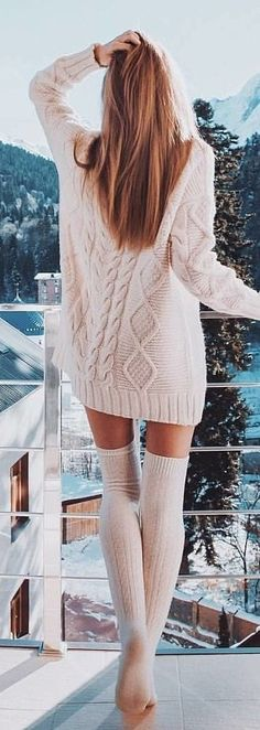 #winter #outfits white long-socks