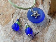 Blue Glass Necklace and Earring Set Blue by UniqueChiqueJewelry