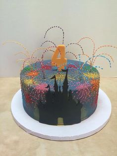 My baby sister has made another awesome cake complete with 3D fireworks and the silhouette of Cinderella's castle at Disney World! (Or is it Sleeping Beauty's castle at Disneyland?) Disneyland Birthday, Disney Birthday, Birthday Cake, Birthday Ideas, 5th Birthday, Birthday Parties, Disney Castle Cake, Disney Cakes, Castle Cakes