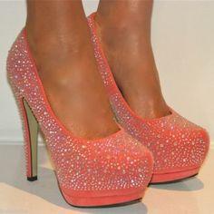 Ladies Coral Rhinestone Platform Heels from ILoveCuteShoes.com