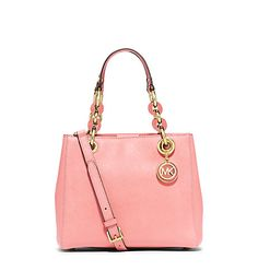 """Michael Kors Cynthia Small Leather Satchel-Beautiful Feminine Classy! pink tortoise chain link & saffiano leather handles, hanging goldtone & pink logo charm, gold tone hardware, center zip compartment, 3 interior open pockets/1 side zip, 9.5"""" X 8"""" X 4.5"""", handle drop 6.5"""", adjustable handle drop 18""""-21"""", metal feet, style #30S5GCYS1L, color pale pink, retail $298, Michael Kors"""