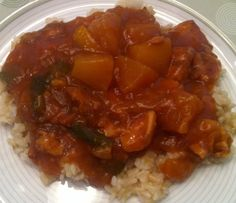 Recipe: Really easy and healthy Sweet and Sour Chicken (or tempeh or tofu or shrimp or beef or pork)