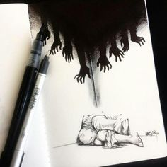 The nightmares hurt they just make you see the truth pencildrawings It hu .The nightmares hurt they just make you see the truth pencildrawings It hurts when you realize you were never really Creepy Drawings, Dark Art Drawings, Creepy Art, Pencil Art Drawings, Art Drawings Sketches, Sketch Art, Cool Drawings, Creepy Sketches, Abstract Sketches