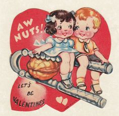 """Aw Nuts! Let's Be Valentines"" 1930s card with nutcracker from Ephemera Obscura on Etsy."