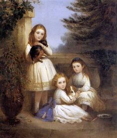 """Portrait of Sisters: Agatha, Mabel and Catherine Greene"" -- by Edward Robert Smythe (British, 1810–1899)"