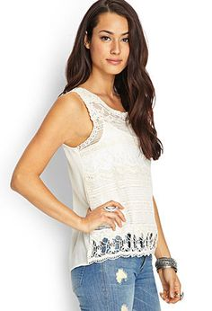 Crochet Lace Chiffon Top | FOREVER21 - 2000063190