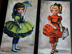 Pair of Adorable Vintage Big Eyed Girls with by TheLadenBranch