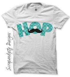 Iron on Hop Easter Shirt PDF - Blue Iron on Transfer / Boys Easter Outfit / Blue Polka Dot Tshirt / Kids Mustache Shirt / Printable by ScrapendipityDesigns, $2.50