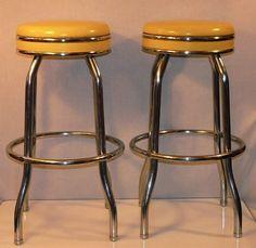 Pair of Vintage Canary Yellow Cosco Chrome and Vinyl Soda Fountain Bar Stools, from Fuzzy Stars