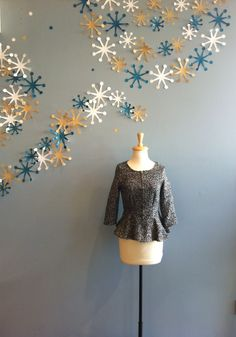 Black/White Peplum Tweed Jacket by Freeway $68.00