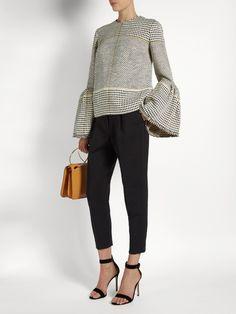 Roksanda Truffaut bell-sleeved basket-weave top