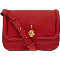 Alexander McQueen Red Skull Padlock Leather Shoulder Bag