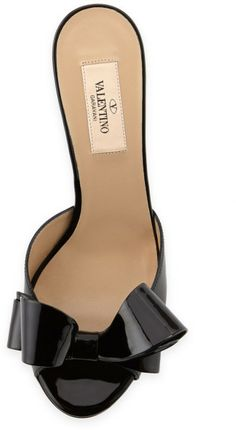 Couture Bow Patent Wedge Slide Sandal Black by Valentino
