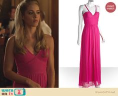 Felicity's pink gown on Arrow. Outfit Details: http://wornontv.net/23725 #Arrow