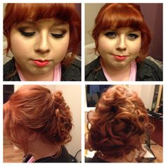 Red  head make up  and hairstyling