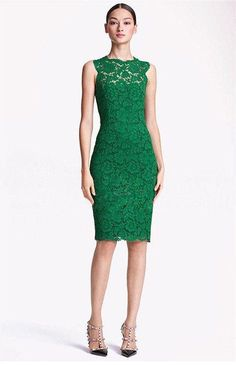 Green Lace Hollow Out Sleeveless Celebrity Pencil Hem Dress Green Lace Dresses, Green Dress, Pretty Dresses, Beautiful Dresses, Summer Dresses, Formal Dresses, Evening Dresses, Dresses 2014, Long Dresses
